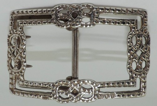 Victorian Silver Buckle With Beaded Borders