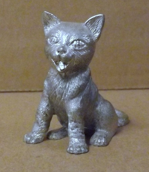 Cast Metal Kitten Sitting Up
