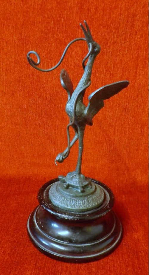 Antique Patinated Bronze Crane
