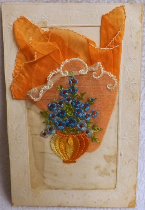 French Embroidered Postcard