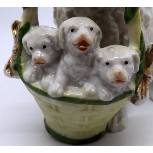 Poodle and Basket of Puppies