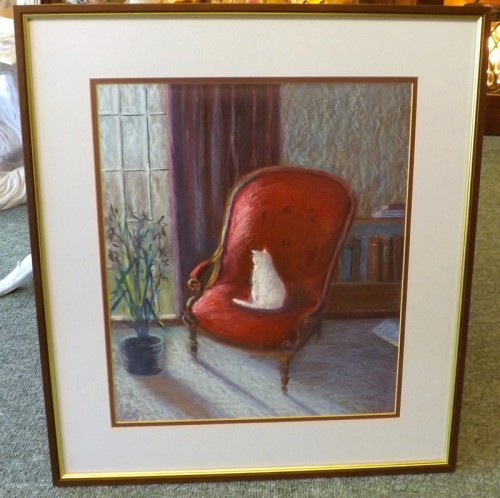 White Cat on an Armchair